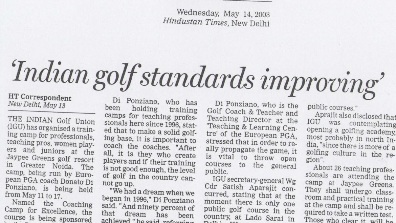 'Indian golf standards improving'
