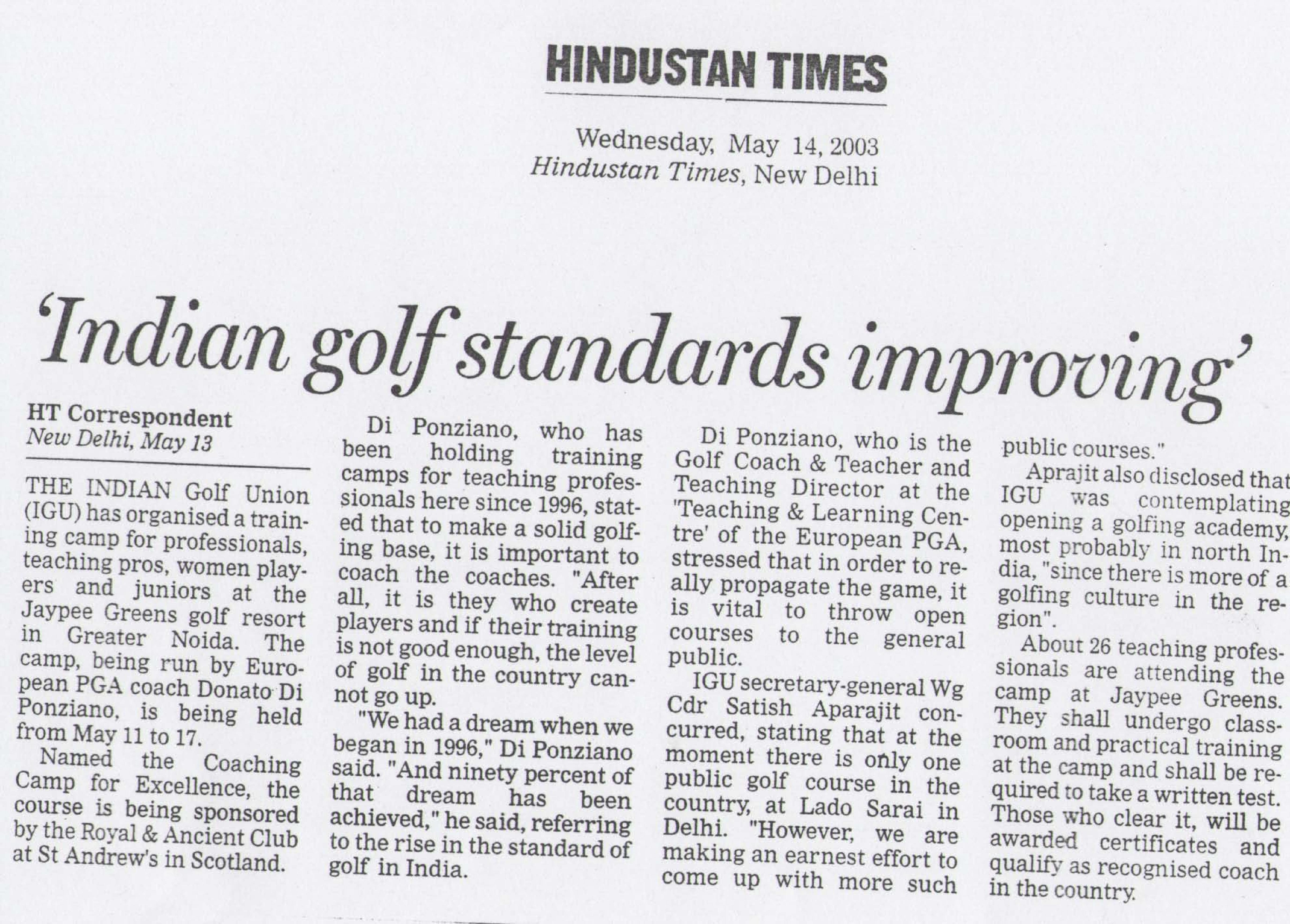 'Indian golf standards improving'