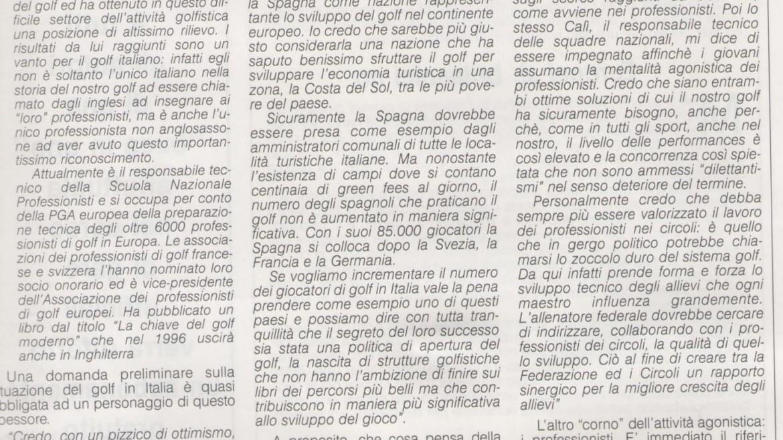 Sono ottimista sul Golf in Italia