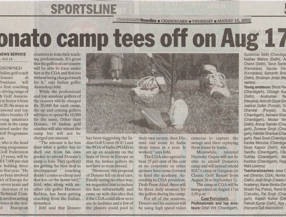 Donato Camp tees off on Aug 17