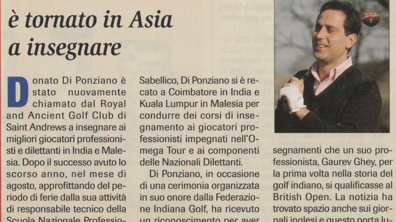 Donato Di Ponziano è tornato in Asia a insegnare