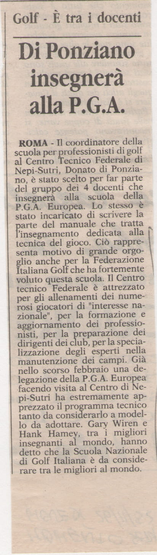 Di Ponziano insegnerà alla P.G.A