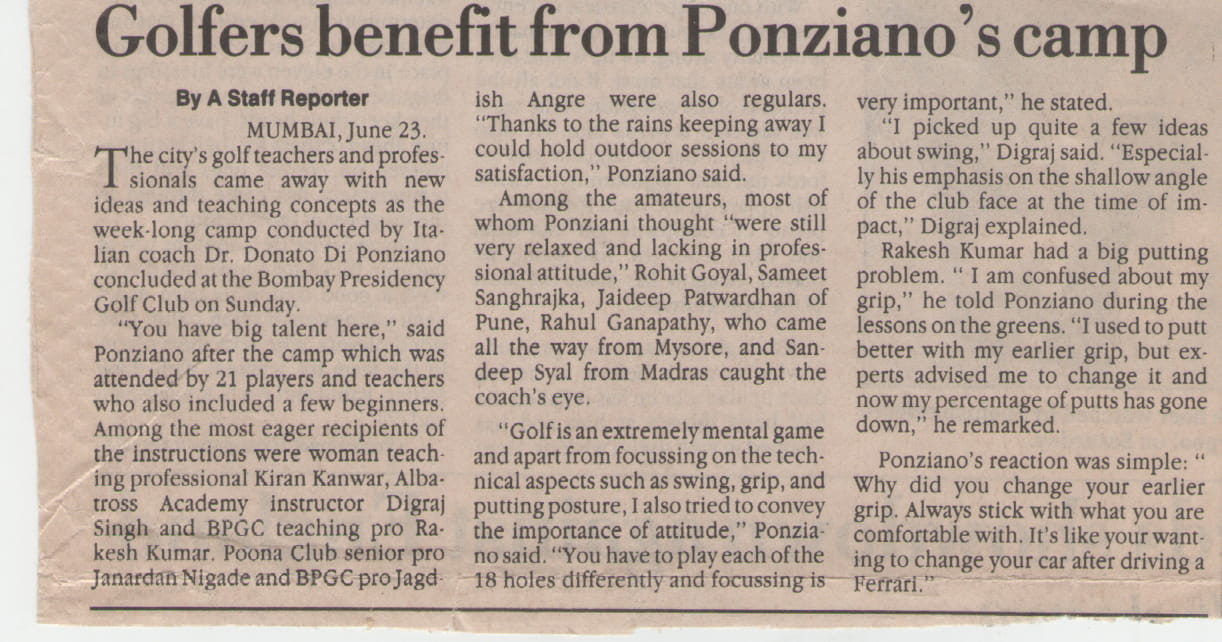 Golfers benefit from Ponziano's camp