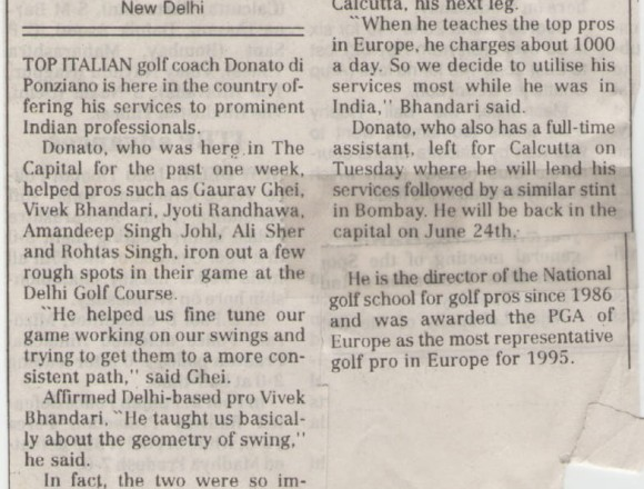 Italian Golf coach for Indian pros