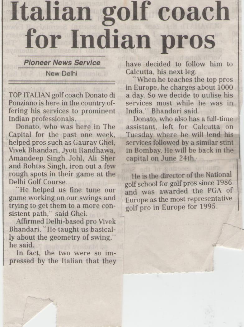 Italian Golf coach for Indian pros