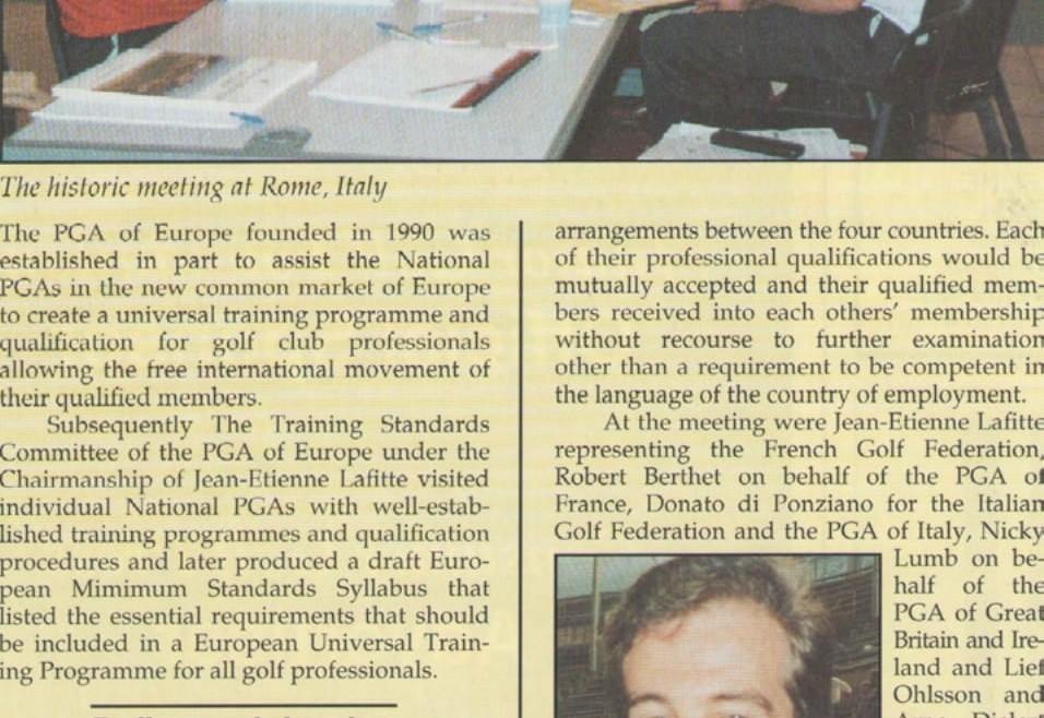 Major European golf training agreement at Rome summit